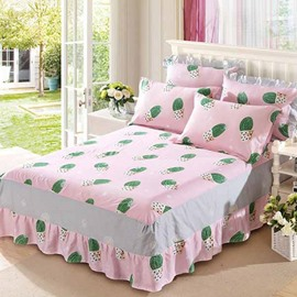 Green Cactus Printing Pink Cotton 3-Piece Bed Skirt Set