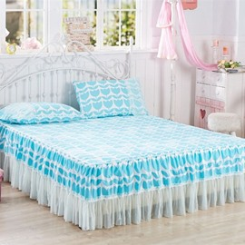 Princess Style Blue Embellishment Bed Skirt with 2-Piece Pillow Cases
