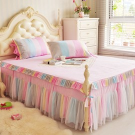 Princess Style Colorful Stripes Print Cotton Bed Skirt