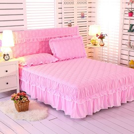 Solid Color Bed Skirt with 2-Piece Pillowcases