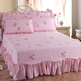 Daisy Print Princess Style Pink Cotton Bed Skirt