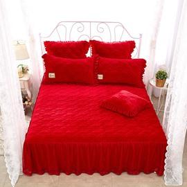 Princess Style Plain Style Red Crystal Velvet Bed Skirt
