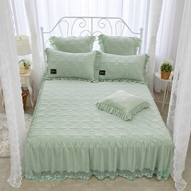Simple Geometric Style Solid Green Polyester Crystal Velvet Bed Skirt