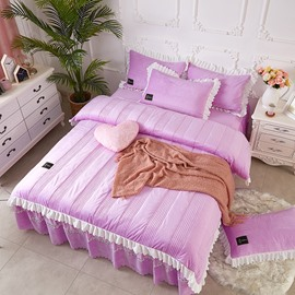 Light Purple Simple Stripes Crystal Velvet Polyester Bed Skirt