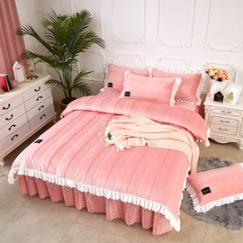 Simple Stripes Style Solid Color Pink Lace Crystal Velvet Bed Skirt