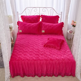 Geometric Style and Solid Color Lace Crystal Velvet Bed Skirt