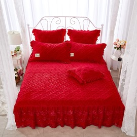Regular Flower Pattern Lace Red Crystal Velvet Bed Skirt