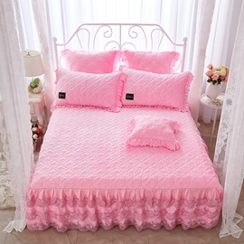 Flower and Geometric Pattern Plain Lace Crystal Velvet Bed Skirt