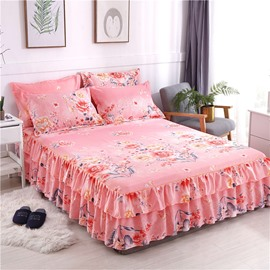 Pink Flowers Reactive Printing Polyester 3-Piece Bed Skirt