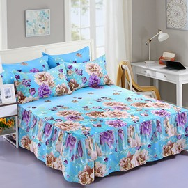 Multi Color Flower Blooming Printing Polyester 3-Piece Bed Skirt