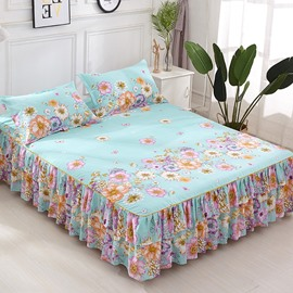 Colorful Blooming Flower Printing Green Polyester 3-Piece Bed Skirt