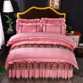 Pink Sweet Style Square Pattern Crystal Velvet Lace Bed Skirt