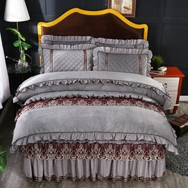 Simple Square Design Soft Crystal Velvet Lace Silver Grey Bed Skirt