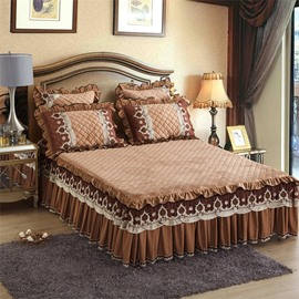 Simple Geometric Pattern Coffee Crystal Velvet Bed Skirt