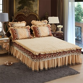Champagne Plain Style Heat Preservation Crystal Velvet Bed Skirt