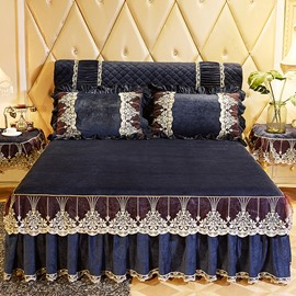 Exquisite Embroidery Dark Blue Lace Ruffle Style Bed Skirt