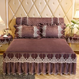 Jacquard Coffee Lace Ruffle Style Crystal Velvet Bed Skirt