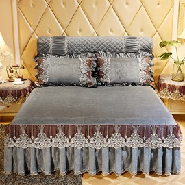 Classic Stylish Solid Grey Ruffle Crystal Velvet Bed Skirt