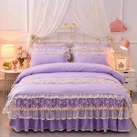 Romantic Princess Lace Skidproof 4-piece Bed Skirt Sets (Purple and Creamy White)