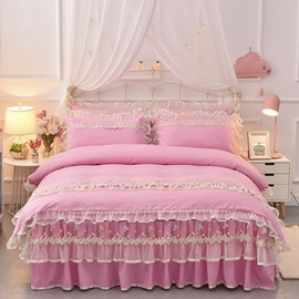 Dreamlike Princess Lace Skidproof Polyester Fiber Girl 4-piece Bed Skirt Sets
