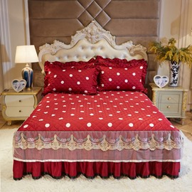 Dots Pattern Red Lace Ruffle Fade Resistant Bed Skirt
