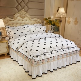 Polka Dots White Wrinkle and Fade Resistant Lace Ruffle Bed Skirt