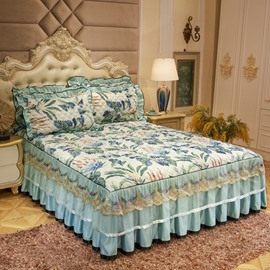 Banana Leaves Printed Lace Ruffles Quilting Bed Skirt