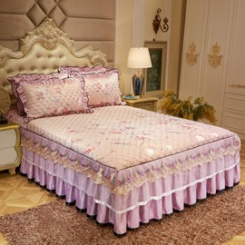 Wrinkle and Fade Resistant Lace Ruffle Bed Skirt