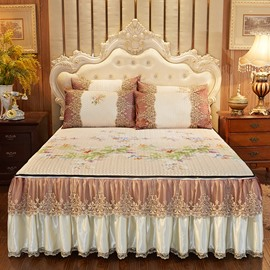 Cotton Lace Bed Skirt Ice Mat European Style 3-Piece Cotton Lace Bed Skirt Ice Mat Sets