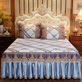 High Color Fastness European Style 3-Piece Cotton Lace Bed Skirt Ice Mat Sets
