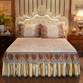 Detachable and Washable Extravagant European Style 3-Piece Cotton Lace Bed Skirt Ice Mat Sets