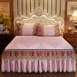 Fine-grained And Exquisite European Style Milan's Night Printed 3-Piece Cotton Lace Bed Skirt Ice Mat Sets