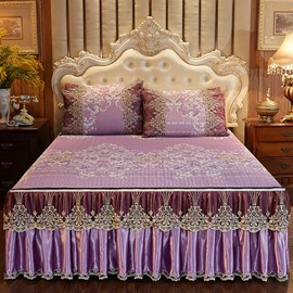 Moisture Absorption European Style Purpure Printed 3-Piece Cotton Lace Bed Skirt Ice Mat Sets