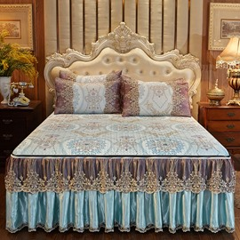Removable And PleasantlyCool3-Piece European Style Alice Printed Cotton Lace Bed Skirt Ice Mat Sets