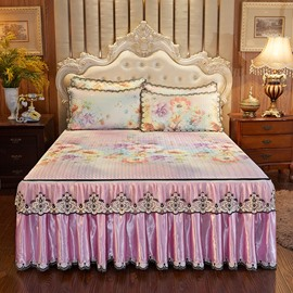 Pinch Pleated Ruffled Chic Style PleasantlyCool3-Piece Cotton Lace Bed Skirt Ice Mat Sets