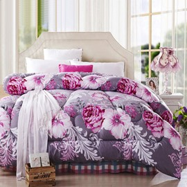 Super Comfortable Rose Red Flowers Pattern Dark Purple Thicken Quilt