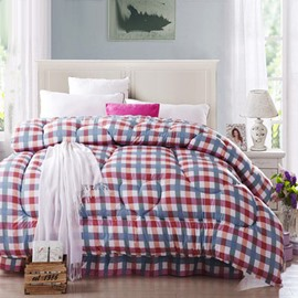 Fantastic Red and Blue Stripes Squares Thicken Quilt