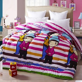 Fashion Style Dad and Kids Travelling Together Thicken Quilt