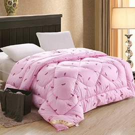 Concise Feather Print Thick Warm Polyester Quilt