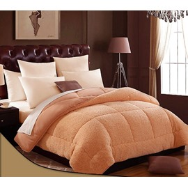 Skincare Soft Plush Solid Camel Comfortable Quilt