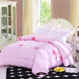 Flower Blooming Pattern Lacy Solid Pink Polyester Winter Quilt