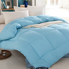 Solid Blue Polyester Super Warm Thick Winter Quilt/Comforter