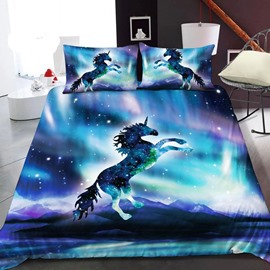 Unicorns In The Blue Galaxy 3D Printed Polyester 1-Piece Warm Quilt