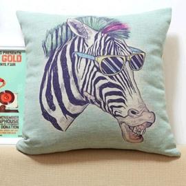 New Arrival Lovely Cartoon Zebra Wearing Sunglasses Print Throw Pillow Case