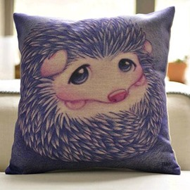 Cute Purple Hedgehog Print Throw Pillow Case