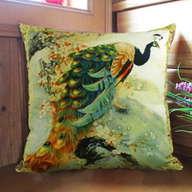 New Arrival Classical Stunning Peacock and Flowers Print Throw Pillowcase