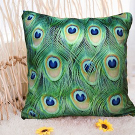 New Arrival Beautiful Peacock Feather Print Throw Pillowcase