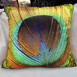 New Arrival Beautiful Peacock Feather Print Yellow Throw Pillowcase