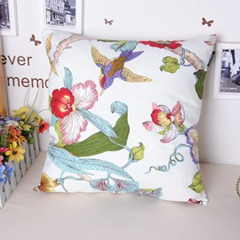 Pastoral Birds Flowers Printing Cozy Cotton Throw Pillowcase