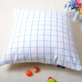 Simple Exquisite Plaid Design White Throw Pillowcase